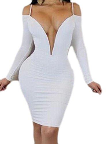 Coolred-femmes Découpées Hors Robes Club Fronde Saut À Manches Longues Épaule V Cou Blanc
