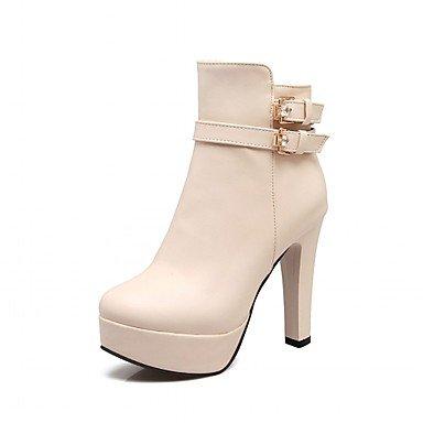 Primavera Dedo Zapatos Invierno Botas Botines Tobillo Beige amp m El Moda Mujer  Heart Tacón Para Hasta Hebilla Robusto De Redondo Semicuero Casual XwPIcq f89ff94d68c