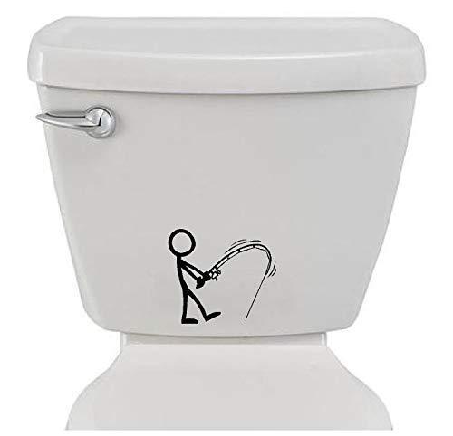 Bathroom Toilet Sticker Decal - Stick Figure Fishing - Funny Fun Home Decor