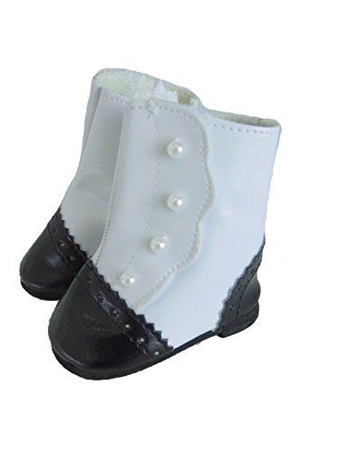 Black and White Classic Victorian Boots With Pearl Accents for 18 Inch Doll Shoes | Fits 18