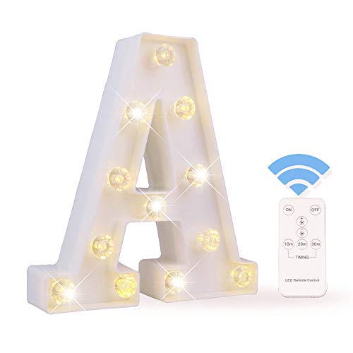 Obrecis LED Letter Lights White Marquee Letters Alphabet Light Up Sign with Diamond Bulbs Remote Control Timer Dimmable Wedding Birthday Party Decoration Letters (A)