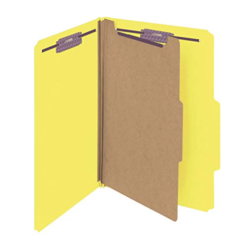 Smead Pressboard Classification File Folder with SafeSHIELD Fasteners, 1 Divider, 2 Expansion, Legal Size, Yellow, 10 per Box (18734)