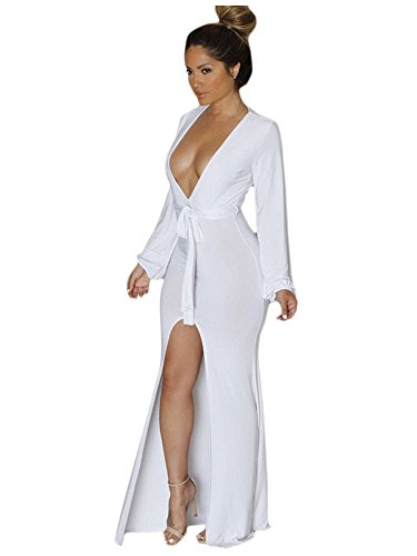 O&W White Plunge V Neck Front High Slit Maxi Jersey Dress