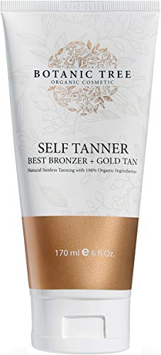 Botanic Tree Self Tanner, Sunless Tanner Natural, Self Tanning Lotion for Body and Face-All Skin Types w/ 100% Organic Extracts.