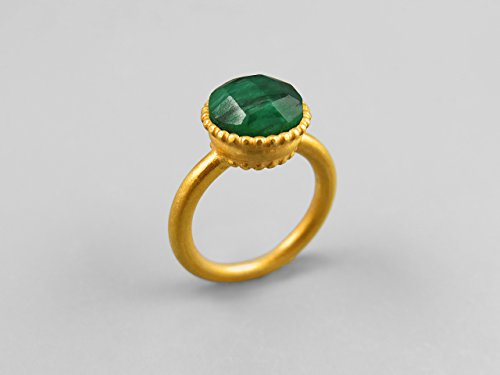 Gold And Emerald Cabochon Ring (Green Emerald Gemstone Round Cabochon Large Gold Plated Silver Ring For Women May Birthday Jewelry Handmade Custom Ring Statement Ring Solitaire Ring Bezel Set Genuine Emerald Jewelry Anniversary Gift)
