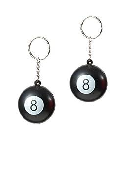 Juego de 6 Piezas Llavero Bola Negra No 8, tamaño: 3 cm de ...