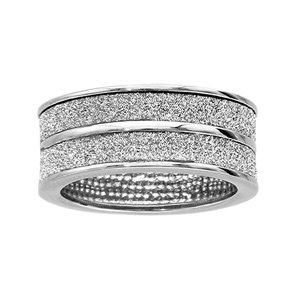 1001 Bijoux - Bague acier 2 anneaux granite blancs