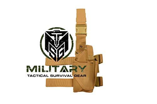 (Drop Leg Holster, Right Handed Tactical Thigh Pistol Gun Holster Leg Harness (Coyote Brown) )