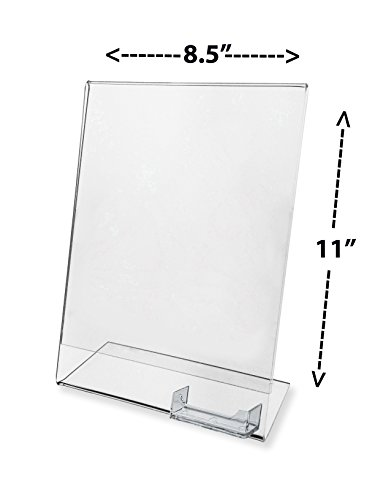 Marketing Holders Advertising Frame with Business Card Holder Clear Acrylic 8.5'' w x 11'' h by Marketing Holders