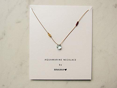 Aquamarine necklace, March birthstone necklace, gemstone necklace, Soulsilk necklace, hand knotted necklace, silk necklace, citrine necklace, garnet necklace