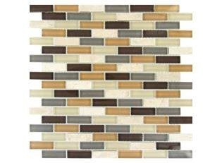 MS International Luxor Valley Brick Pattern 12 in. x 12 in. Multi Glass Mesh-Mounted Mosaic Tile - Box of 5 - Mesh Mounted Tile Glass