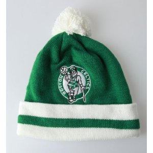 Mitchel & Ness Boston Celtics Kelly Green-White Throwback - Basketball Beanie With Pom