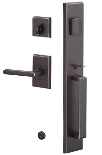 Sure-Loc VL507-LN 11P Rustic Series Vail Handleset with Logan Lever Interior Trim, Vintage Bronze