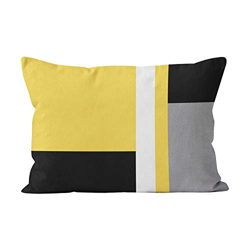 (Wesbin Unique Yellow Gray Black White Block Hidden Zipper Home Decorative Rectangle Throw Pillow Cover Cushion Case King 20x36 Inch One Side Design Printed Pillowcase)