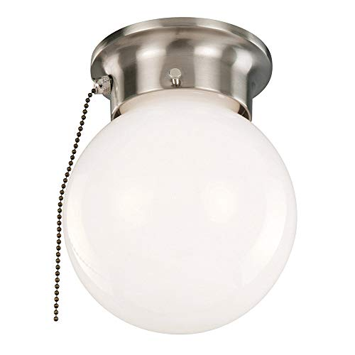 (Design House 519272 1 Light Ceiling Light with Pull Chain, Satin)