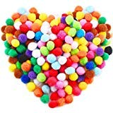 Premium 300 PCS 1 Inch Assorted Pom Poms, Craft Pom Pom Balls, Colorful Pompoms for DIY Creative Crafts Decorations, Kids Craft Project, Home Party Holiday Decorations