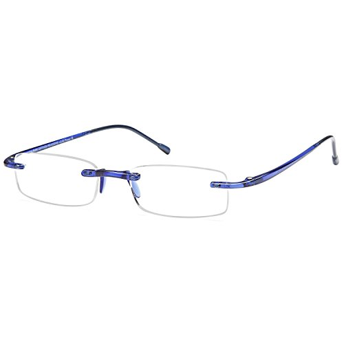 GAMMA RAY FLEXLITE Super Lightweight Bendable Flex Arm Rimless Readers - With (Lightweight Reading Glasses)