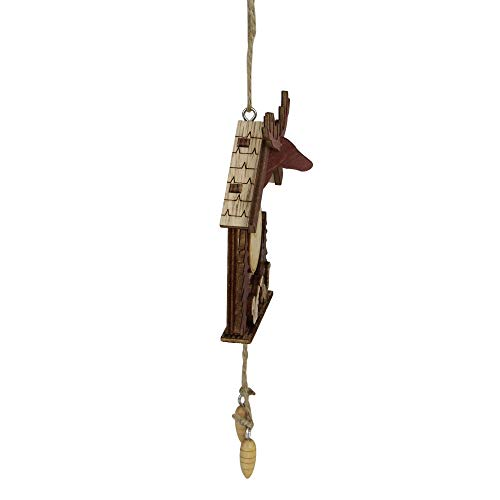 """Midwest 6"""" Wooden Cuckoo Clock with a Reindeer and Pine Trees Christmas Ornament"""