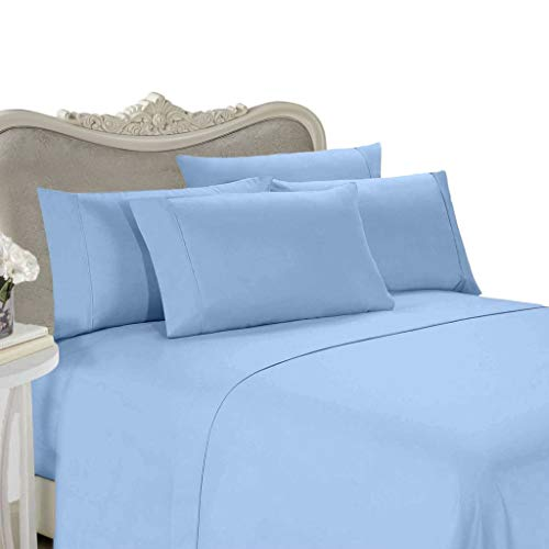 Egyptian Bedding 1000-Thread-Count Egyptian Cotton 1000TC Sheet Set, Queen, Blue Solid 1000 TC (Sheet Set Queen 1000tc)