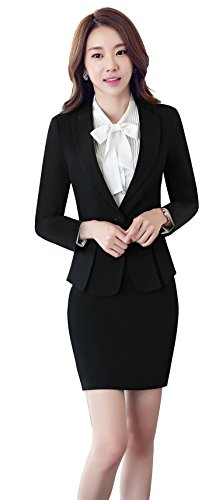 uruoi New Year Gift Women's Two Piece Office Lady Blazer Business Suit Set Skirt Black (Black Womens Skirt Suit)