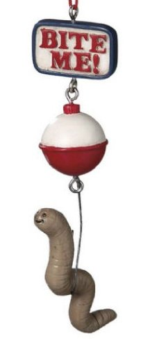 Bite Me Worm Bait Fishing Christmas Ornament