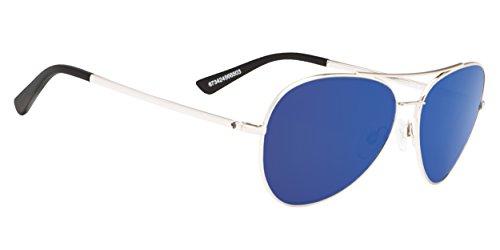 Spy Optics Whistler Aviator Sunglasses, Silver/Happy Gray/Green/Dark Blue Spectra, 1.5 mm