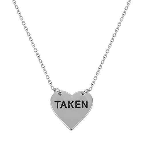 Lux Accessories Delicate Taken Heart Boyfriend Girlfriend Gift Pendant Charm Necklace.