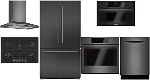 "Bosch 6 Piece Kitchen Package with B21CT80SNB 36""French Door Refrigerator,NGM8046UC 30"" Gas Cooktop,HCP80641UC 30""Hood,HBL8442UC 30""Electric Oven,SHPM78W54N 24""Dishwasher and HMB50162UC 30""Microwave"
