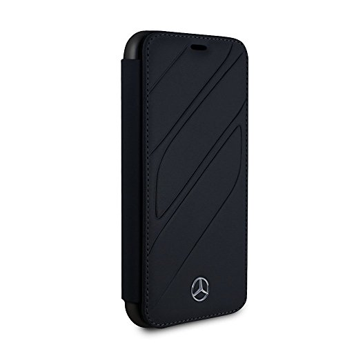 Mercedes Benz iPhone X - by CG Mobile - Navy Bookstyle Cell Phone Case Genuine Leather | Easily Accessible Ports | Officially Licensed.