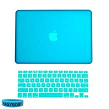 "Easygoby 2 in 1 Matte Frosted Hard Shell Case Cover for 13-inch White Unibody MacBook 13"" (Model: A1342 / Released after Oct. 2009) + Keyboard Cover-Aqua Blue"