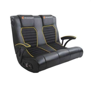 X-Rocker Dual Commander Gaming Chair 2.1 Audio and AFM Technology Two Built-in Speakers and subwoofe for Kids,Teens,Boys Or Girls Seat for Games,Tv Room Console (Black/Yellow) X Rocker