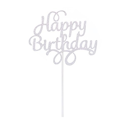 Happy Birthday Cake Topper Glitter Party Event Decorations Silver 2 pcs