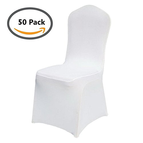 Pack of 50 Universal Spandex Chair Covers Dining Chair Stretchy Slipcover For Wedding Banquet Party Home Decoration (White, 50) by CalmTime