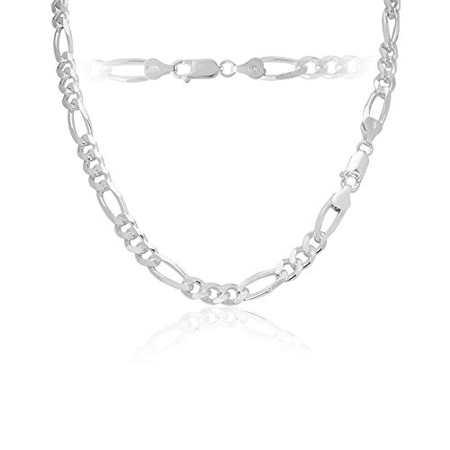 Men's 6.5mm 180 Gauge Figaro Chain Solid .925 Sterling Silver Necklace, 24 Inch