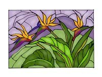 Bird of Paradise Art Glass Panel Wall Window Hanging Suncatcher 14 x 20