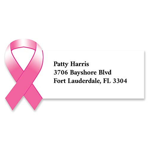 Pink Advocacy Awareness Ribbon Diecut Sheeted Address Labels]()