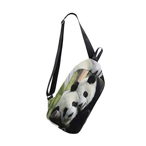 Sling Bag Cute Panda Love Mens Chest Shoulder Backpacks Crossbody Tactical Daypack