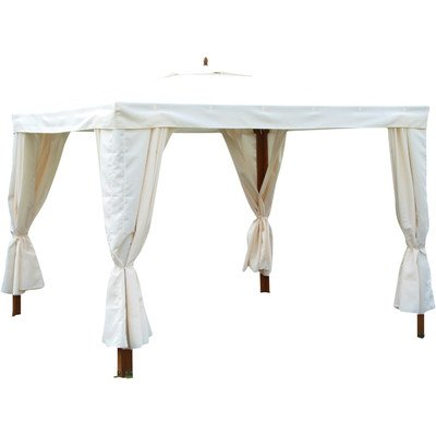 Safavieh PAT7019A Outdoor Collection Grover Teak Brown and White Gazebo