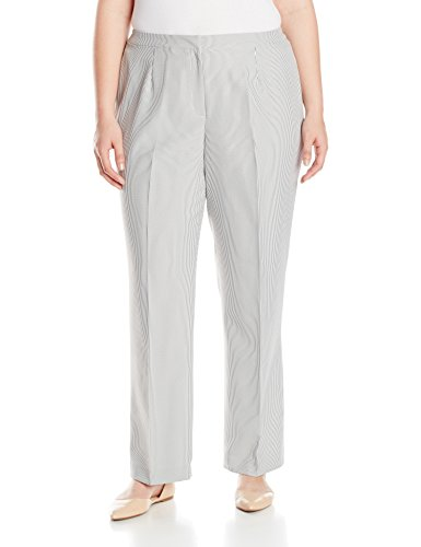 Kasper Women's Plus-Size Whip Cord Kate Suit Pant, Black/White, 18W