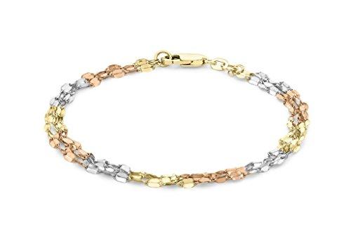 """9ct or 3couleurs 3brins de Lien Chaîne Bracelet 19cm/7,5"""""""