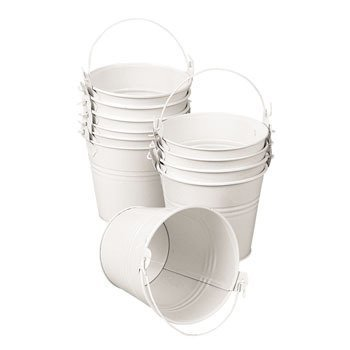 12 Mini White Pails with Handles (White Mini Pails)