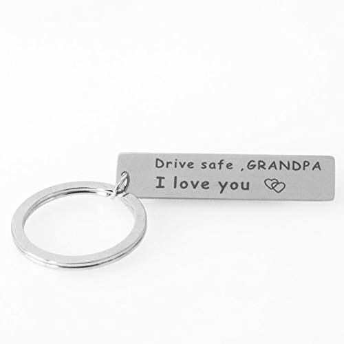 Keychain Gifts for Grandpa Grandfather Drive Safe I Love You Keychain Military Dog Tags Keyring Birthday Christmas Gifts for Grandpa Granfather from Grandson Granddaughter