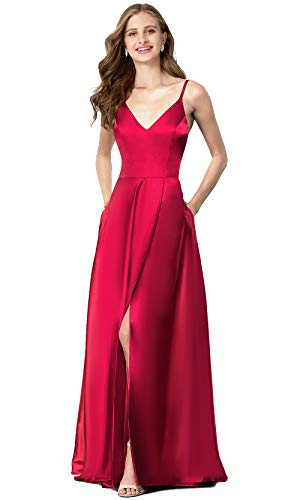 (Valiamcep Womens Strap V Neck Prom Dresses Homecoming Long 2019 Satin Evening Ball Gowns with Pocket (Wine, L))