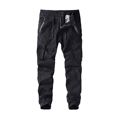 Men's Cargo Pants Casual Elastic Waist Relaxed-fit Jogger Trousers with Multi-Pocket and Drawstring Black