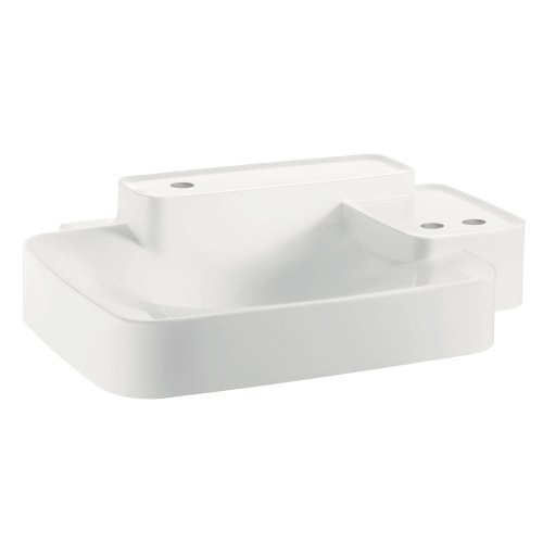 (AXOR 19942330 Wall Hung Bouroullec Wash basin, Small, 2 Shelfs, 3 Hole, White)