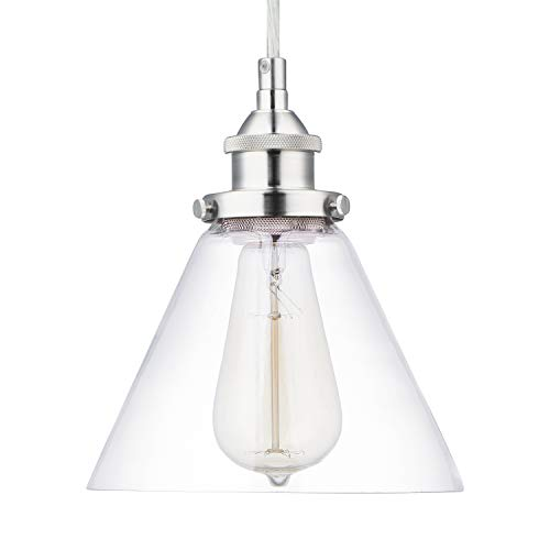 (Light Society Cruz Mini Pendant Light, Clear Glass Shade with Satin Nickel Finish, Modern Industrial Lighting Fixture for Kitchen Island, Dining Room or Living Room (LS-C108-SN))