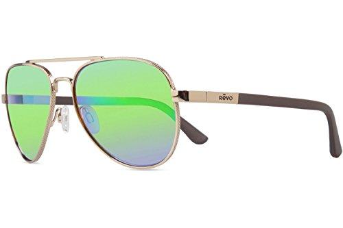 Revo Raconteur Sunglasses, Gold Frame, Green Water 58mm Lenses, part of the Serilium - Shades Sunglasses United
