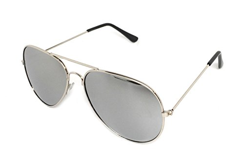 My Shades - Classic Aviator Sunglasses Silver Mirror Color Mirror Retro Metal Teardrop Fits Teens Adults Men Women (Silver Frame, Silver - Aviator Cheap Glasses
