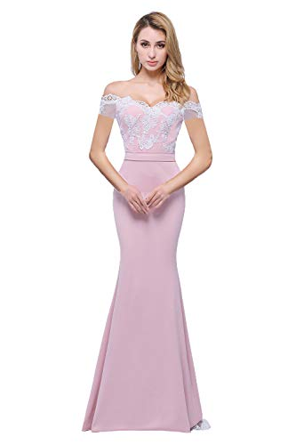 Honey Qiao Off The Shoulder Mermaid Bridesmaid Dresses Long Lace Prom Party Gowns ()