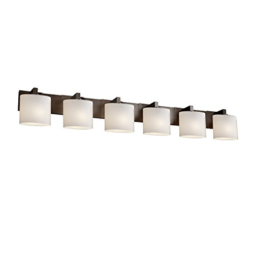 Justice Design Group Fusion 6-Light Bath Bar - Polished Chrome Finish with Opal Artisan Glass Shade - Light Modular Bath Bar